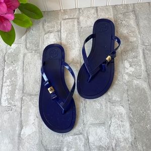 Navy Tory Burch jelly sandals